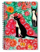 Cats And Roses Spiral Notebook