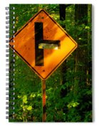 Caution T Junction Road Sign Spiral Notebook