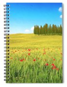 Cedar Grove And Poppies Spiral Notebook