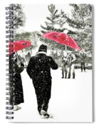 Central Park Snow And Red Umbrellas Spiral Notebook