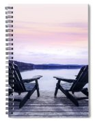 Chairs On Lake Dock Spiral Notebook