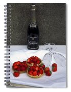 Champagne Bottle With Strawberry Tarts And 2 Glasses Spiral Notebook