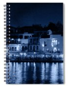Chania By Night In Blue Spiral Notebook