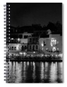 Chania By Night In Bw Spiral Notebook
