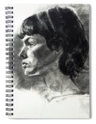 Charcoal Portrait Of A Pensive Young Woman In Profile Spiral Notebook