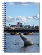 Charles River Boston Ma Crossing The Charles Citgo Sign Mass Ave Bridge Spiral Notebook