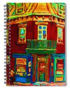Charming Store  On The Corner Spiral Notebook