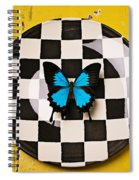 Checker Plate And Blue Butterfly Spiral Notebook