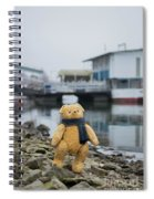 Cheerful Teddy Bear In Knitted Scarf Stand By The Riverside Beside The Port Spiral Notebook