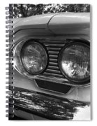 Chevy Corvair Headights And Bumper Black And White Spiral Notebook