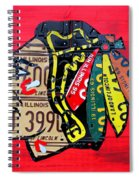 Chicago Blackhawks Hockey Team Vintage Logo Made From Old Recycled Illinois License Plates Red Spiral Notebook