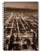 Chicago City Lights West B W Spiral Notebook