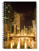 Chicago Downtown City  Night Photography Spiral Notebook