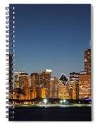 Chicago Downtown Skyline At Night Spiral Notebook