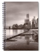 Chicago Foggy Lakefront Bw Spiral Notebook