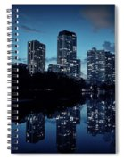Chicago High-rise Buildings By The Lincoln Park Pond At Night Spiral Notebook