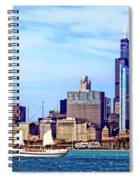 Chicago Il - Schooner Against Chicago Skyline Spiral Notebook
