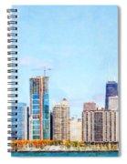 Chicago Illinois Skyline Painterly Triptych Plate Three Of Three 20180516 Spiral Notebook