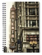 Chicago In November Oriental Theater Signage Vertical Spiral Notebook