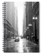 Chicago In The Rain B-w Spiral Notebook