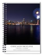 Chicago Lakefront Skyline Poster Spiral Notebook