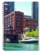 Chicago Parked By The Clark Street Bridge On The River Spiral Notebook