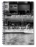 Chicago Parked On The River Walk Panorama 02 Bw Spiral Notebook