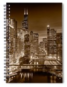 Chicago River City View B And W Spiral Notebook