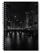Chicago River Night Skyline Spiral Notebook