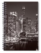 Chicago River Panorama B W Spiral Notebook