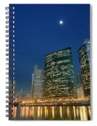 Chicago River With Skyline And Moon Spiral Notebook
