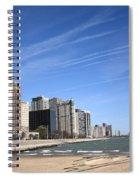 Chicago Skyline And Beach Spiral Notebook