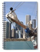 Chicago Skyline And Tall Ship Spiral Notebook