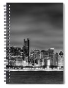 Chicago Skyline At Night Black And White Spiral Notebook