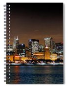Chicago Skyline At Night Extra Wide Panorama Spiral Notebook