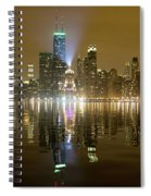 Chicago Skyline With Lindbergh Beacon On Palmolive Building Spiral Notebook