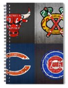 Chicago Sports Fan Recycled Vintage Illinois License Plate Art Bulls Blackhawks Bears And Cubs Spiral Notebook