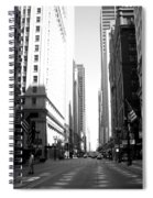 Chicago Street With Flags B-w Spiral Notebook