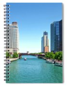 Chicago Tour Boats Parked On The River Spiral Notebook
