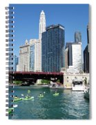 Chicago Watching The Kayaks On The River Spiral Notebook