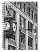Chicago's Father Time Clock Bw Spiral Notebook