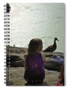 Children At The Pond 1 Version 2 Spiral Notebook