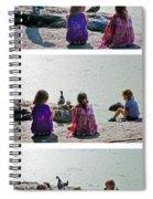 Children At The Pond Triptych Spiral Notebook