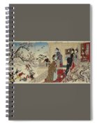 Children Playing In The Snow Under Plum Trees In Bloom Spiral Notebook