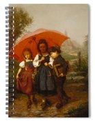 Children Under A Red Umbrella Spiral Notebook