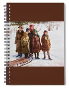 Children With A Sled Nikolai Petrovich Bogdanov-belsky Spiral Notebook