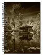 Chinese Botanical Garden In California With Koi Fish In Sepia Tone Spiral Notebook