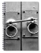 Chinese Door And Lock - Black And White Spiral Notebook
