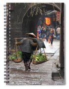 Chinese Woman Carrying Vegetables Spiral Notebook