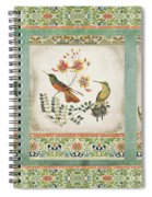 Triptych - Chinoiserie Vintage Hummingbirds N Flowers Spiral Notebook